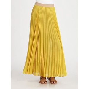 BCBG Estel Pleated Yellow Maxi Skirt